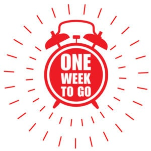 One week to go offer sticker or label - ringing alarm clock