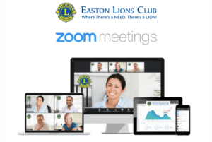 Easton Lions Club Zoom Meeting with image of laptop and gallery of participants.