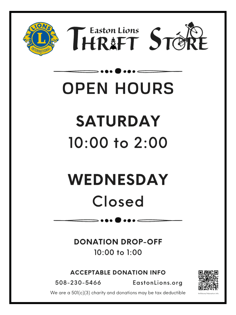 Easrton Lions Thrift Store information sign