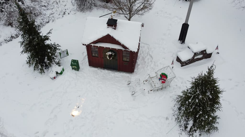 Aerial shots of Santa's house on the Rockery in North Easton