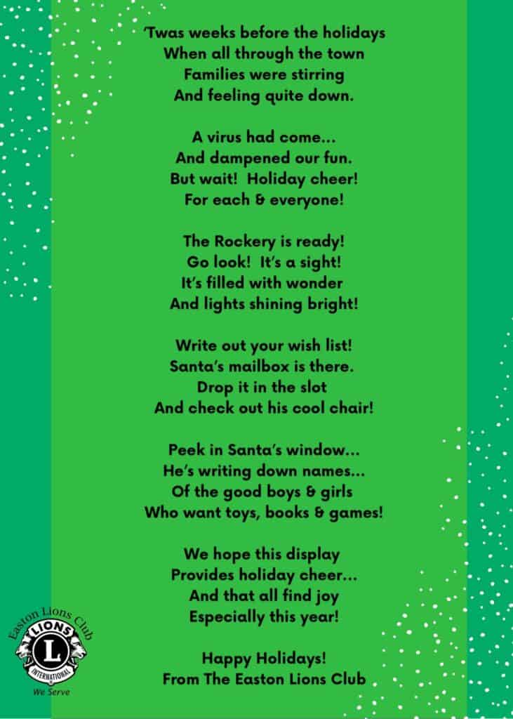 A holiday poem about the rockery lights in North Easton, MA, in December 2020.