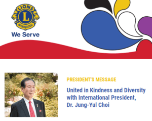 Lions Clubs International president's message header block with Dr. Jung-Yul Choi