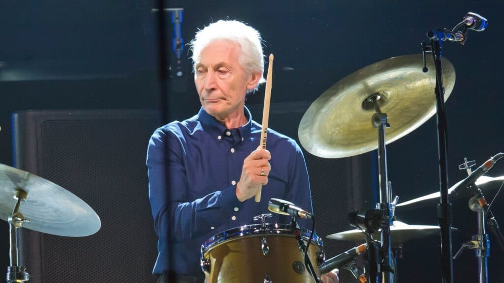 Charlie Watts on the drums with Rolling Stones