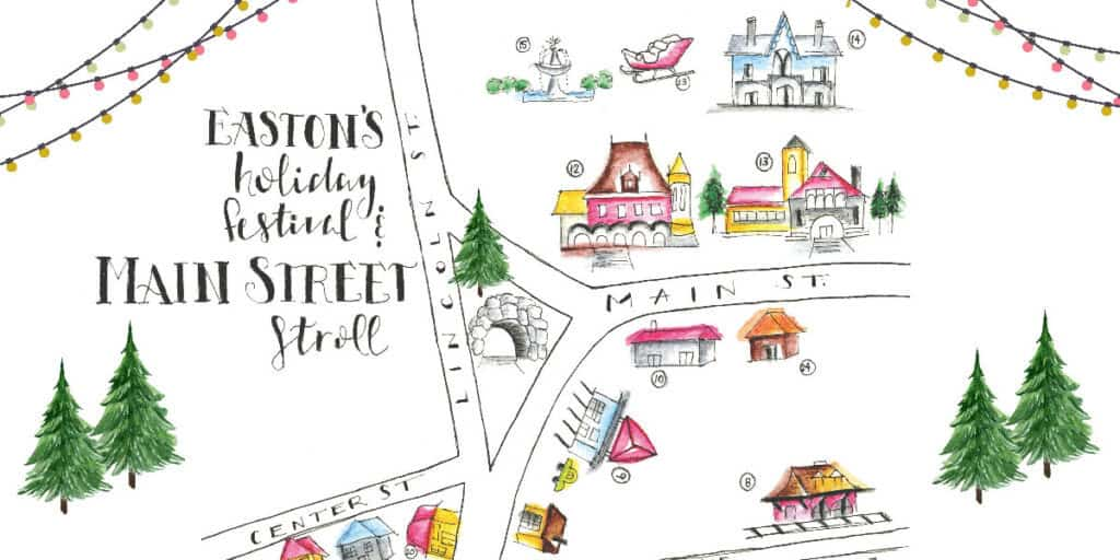 Holiday Festival and Main Street Stroll banner image of handdrawn map of Rockery Main Street and Lincoln St area