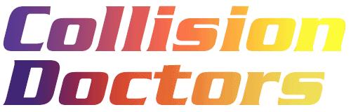 Collision Doctors rainbow logo stacked