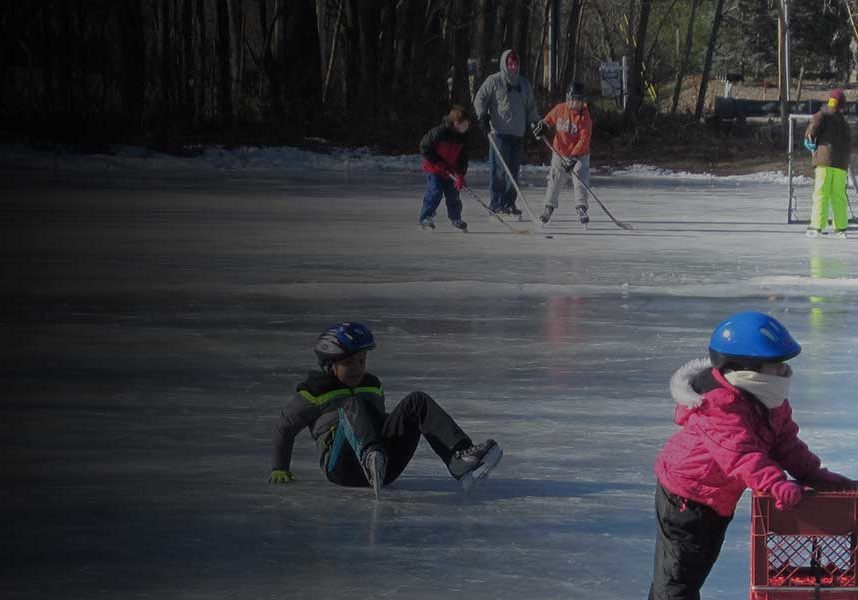 Picture of kids skating at Yardley-Wood Rink in Easton, MA.