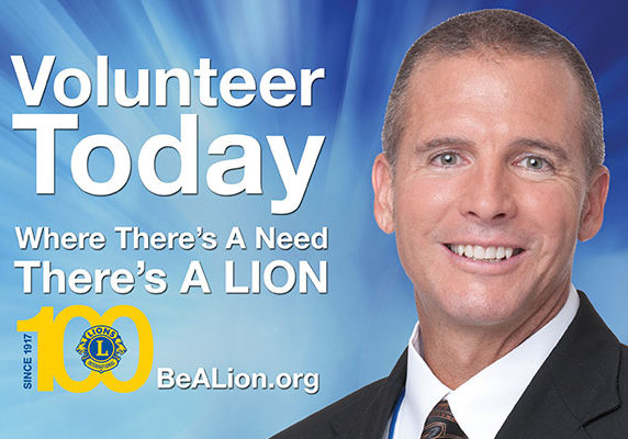 LCI Volunteer today, be a lion, 100 years.